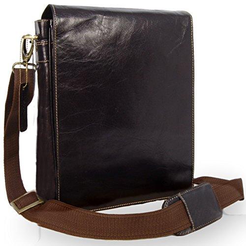 Visconti Grand sac Besace en cuir marron signé (18410)