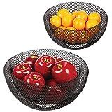 mDesign Set da 2 cestini porta frutta - Elegante e funzionale cesto per frutta, verdura, pane e altri alimenti - Cestini portafrutta, uno grande e uno piccolo - Stile anche decorativo - nero