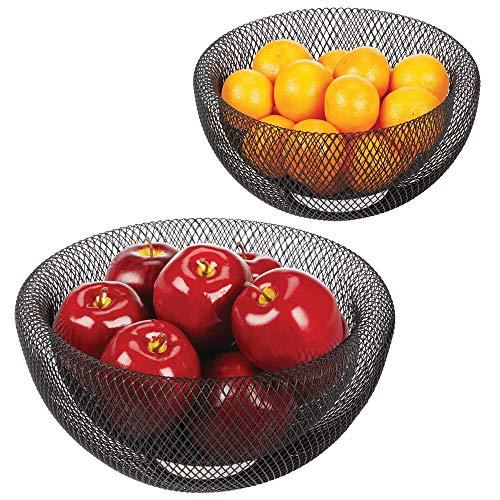 mDesign Juego de 2 fruteros de Cocina - Elegantes cestas de Frutas y V