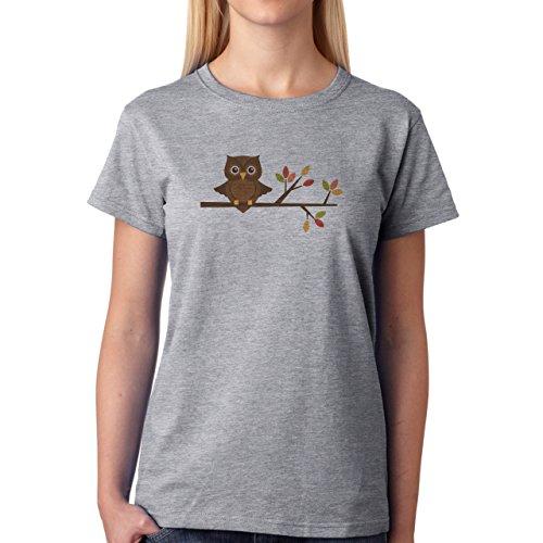 Owl Bird Night Midnighter Tree Damen T-Shirt Grau