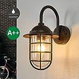 Lampenwelt Wandleuchte außen (spritzwassergeschützt) (Retro, Vintage, Antik) in Alu aus Aluminium (1 flammig, E27, A++) | Außenwandleuchten Wandlampe, Led Außenlampe, Outdoor Wandlampe für Außenwand/Hauswand, Haus, Terrasse & Balkon