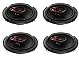 Pioneer TS-R1650D 250W 6-inch Shallow Mount 3-Way Car Speaker - Pack of 4 (Multicolour)