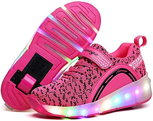 Knoijijuo Kinder Turnschuhe mit Rollen Skateboardschuhe Rollschuhe Sportschuhe Laufschuhe Sneakers mit Rollen für Jungen Mädchen,Pink1,38
