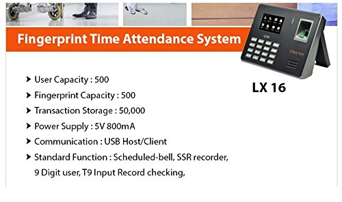 ESSL Identix LX-16 Time and Attendance Biometric Machine (NO SOFTWARE  REQUIRED)
