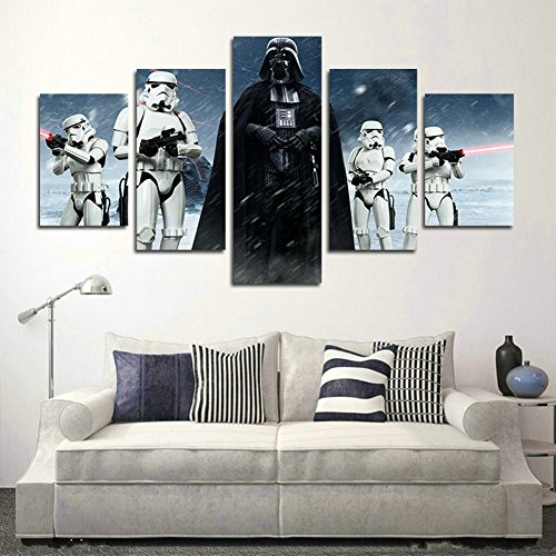 51uk4ULVD4L - YspgArt66 - Lienzo Impreso, 5 Piezas, diseño de Star Wars Darth Vader, Lienzo, para decoración del hogar, Sala de Estar, Oficina o Regalo (sin Marco)