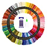 Embroidery Thread Kit SOLEDI 150 Skeins Embroidery floss for beginner with Embroidery Needles 12 x Floss Bobbins and Needle-Threading Tool,As Friendship Bracelets Floss,Hair Style Product