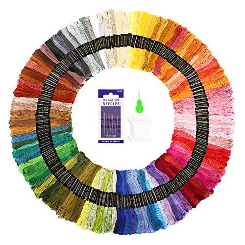 Soledi punto croce kit 150 colori filo da ricamo con 12 bobine di filo,10 aghi da ricamo, 1 infila aghi usato per ricamo - punto croce - amicizia braccialetti - mestieri (150 colori)