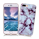 Coque iPhone 7 PLUS XiaoXiMi Etui en Marbre Texture Housse de Protection Soft TPU Silicone Case Cover Coque Flexible Lisse Etui Ultra Mince Poids Léger Housse Anti Rayure Anti Choc pour iPhone 7 PLUS - Violet
