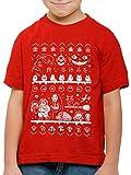 style3 Ghibli Anime Christmas Sweater T-Shirt für Kinder t Totoro Mononoke Schloss Chihiro Film, Farbe:Rot, Größe:128