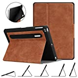 FINTIE Custodia in TPU per iPad 9.7 2018 2017 / iPad Air 2 / iPad Air - [Protezione Angolo] Multi-Angolo Cover Protettiva con [Secure Pencil Holder] Auto Sleep/Wake per iPad 6/5 Gen, Marrone Rustico