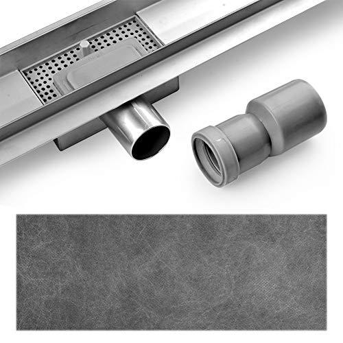 S SIENOC Desagüe de ducha de acero inoxidable extremadamente plano- Rejilla de ducha de desagüe de suelo de baño de acero inoxidable baño largo invisible - diseño moderno líneas (100cm, Muesca)