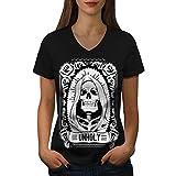 wellcoda unheilig Rose Tod Schädel Frau S-2XL V-Ausschnitt T-Shirt