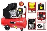 Vetrineinrete® Compressore aria a cilindro serbatoio da 50 litri motore 3.5 Hp 8 bar con manometro e ruote 50 lt P26