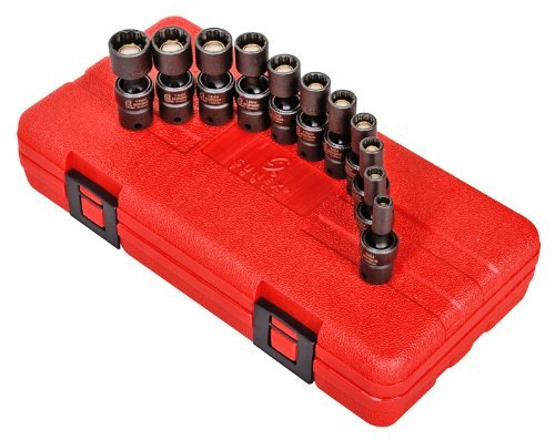 Sunex 1825 1/4-Inch Drive Metric 12-Point Universal Magnetic Impact Socket Set by Sunex (12-point Impact Sockets)