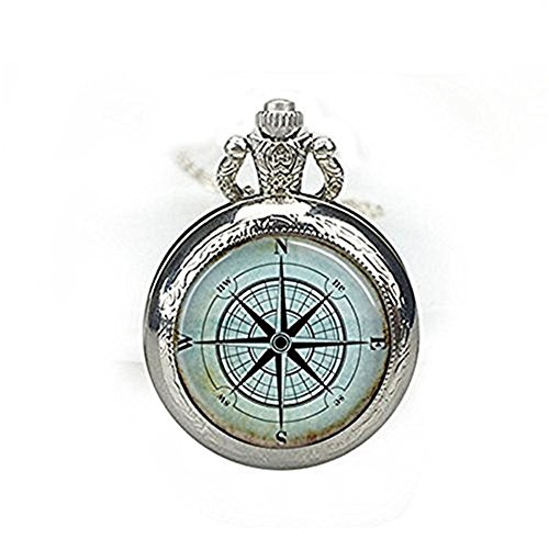 enuhr Halskette Kompass Rose Mariner 's Armbanduhr Jewelry Nautische Schiff Ocean Art Anhänger (Nautische Halskette)