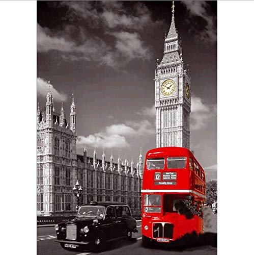 5D DIY Diamant Bestickt Diamant Kreuzstich Gesetzt Buckingham Palace Landschaft Mosaik England Bus Dekoration Geschenk 40X50CM Buckingham Crystal
