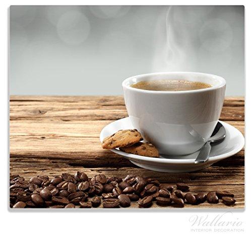 Den Heißen Herd (Wallario Herdabdeckplatte / Spitzschutz aus Glas, 1-teilig, 60x52cm, für Ceran- und Induktionsherde, Heiße Tasse Kaffee mit Kaffeebohnen)