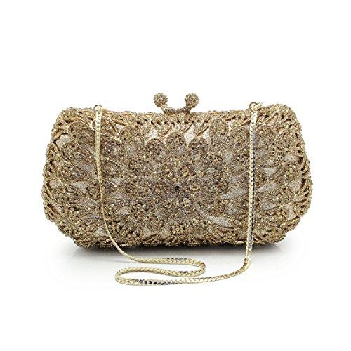 Metall Clutch Bag Luxus Mode Abendessen Tasche Voller Diamanten Abendtasche Kette Tasche Braut Handtaschen D