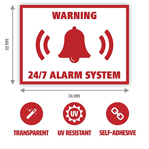Junk Mail Blocker 10 x Alarm System Sticker Set - Security Alert Sign for Doors - Transparent (7.4 x 5.2 cm)