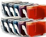 10x Druckerpatronen-Set Mit CHIP für Canon Pixma MX 850 (je Farbe 2 Patronen) - mit Chip kompatibel für MX850, 2x26ml,8x13ml