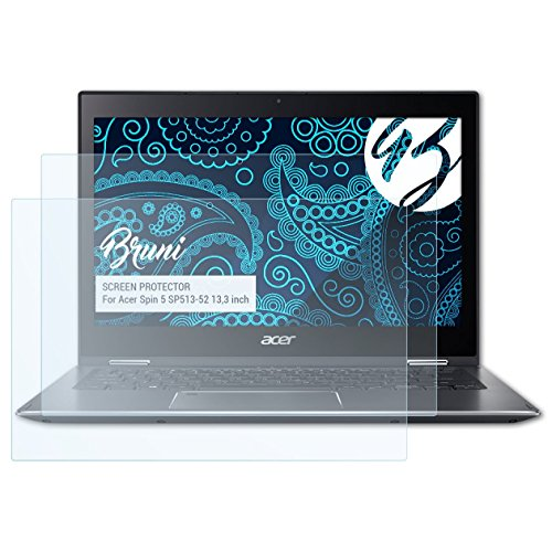 Bruni Schutzfolie für Acer Spin 5 SP513-52 13,3 inch Folie, glasklare Bildschirmschutzfolie (2X)