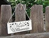 Klebefieber Holzschild Herzlich Willkommen B x H: 25cm x 10cm