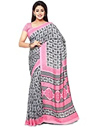Kanchnar Women's Crepe Printed Saree With Blouse Piece - 182S196_Grey And Pink_Free Size