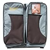 HUKOER 3 in 1 Portable Nappy Changing Bag Travel Bassinet Change Station, Multifunctional Travel Bassinet - Travel Crib, & Diaper Bag With Pacifier Holder Perfect Baby Travel Accessory & Travel Baby Bed For Girls & Boys Café Gris Foncé