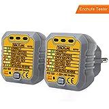 Tacklife EST02-2 comprobador de enchufes ,testeador del cableado eléctrico,Probador del detector del zócalo de corriente para circuitos eléctricos Meter Tester Polaridad neutro y tierra 2 Piezas