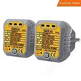 Tacklife EST02-2 comprobador de enchufes ,testeador del cableado eléctrico,Probador del detector del zócalo de corriente para circuitos eléctricos Met