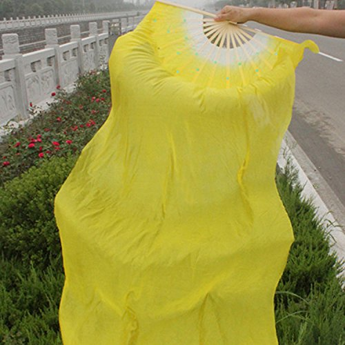 Bluelover 1.8M Lengthen Belly Dance Fan Imitated Silk Fabric Bamboo Fans Dance Dance Performance Supplies - Gelb