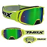 TWO-X Rocket Crossbrille neon gelb Glas verspiegelt grün MX Brille Nasenschutz...