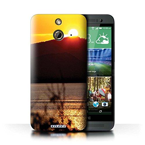Kobalt® Imprimé Etui / Coque pour HTC One/1 E8 / Bateau de pêche conception / Série Coucher du Soleil Dessus de montagne