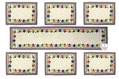 Loomkart Table Mats (Set Of Seven) With Table Runner On Jacquard Fabric...