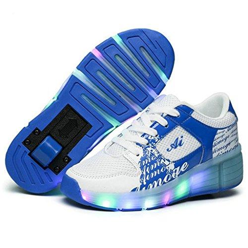 Jungen Mädchen der erwachsenen LED-Licht Roller Skate Schuhe mit eine Rad blinkende Sneakers weiß / blau