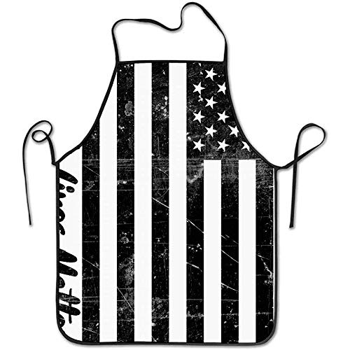 Ladies Aprons Black Lives Matter USA Flag Funny Cooking Apron for Men Women - BBQ Grill Kitchen Chef Barbecue Gifts, One Size Fits Most (Black Flag Alle Kostüm)