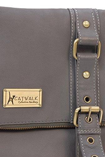 Borsa in pelle a tracolla di Catwalk Collection Abbey Road Grigio scuro
