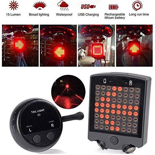 Fernbedienung Wireless Wasserdichtes Fahrrad LED Rücklicht Blinker Licht mit Eingebaute Wiederaufladbare Lithium-Batterie und USB-Kabel, für alle Arten von Fahrrad, Mountainbike, Rennrad, Motorrad etc