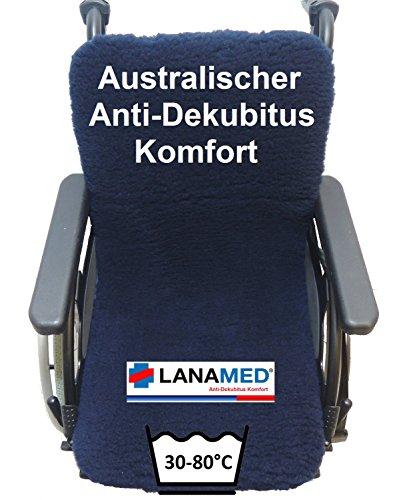 LANAMED 45 x 85 cm - Australische Antidekubitus Rollstuhlauflage für Sitz und Rücken. Dunkelblau. Ultra-dichter Schurwoll-Komfort mit einer Wollhöhe von ca. 3 cm. Bei 30-80° C maschinenwaschbar und trocknergeeignet. Mit Befestigungsbändern. LANAMED ca. 45 x 85 cm