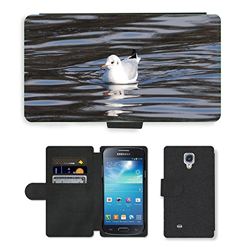 Grand Phone Cases PU LEDER LEATHER FLIP CASE COVER HÜLLE ETUI TASCHE SCHALE // M00141968 Gull Ruhen Vogel-Tier-Feder // Samsung Galaxy S4 Mini i9190 -