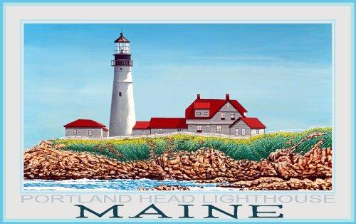 Northwest Art Mall Maine Portland Head Leuchtturm von David Linton, Wanddekoration, 28 x 43 cm