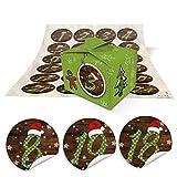 2 DIY Adventskalender Weihnachten Bastel-Set: 48 kleine hell-grüne Mini-Schachteln Boxen 8 x 6,5 x 5,5 + rot-grün gepunktete MÜTZE Zahlen-Aufkleber 1 bis 24 selber-machen-befüllen Kinder Erwachsene