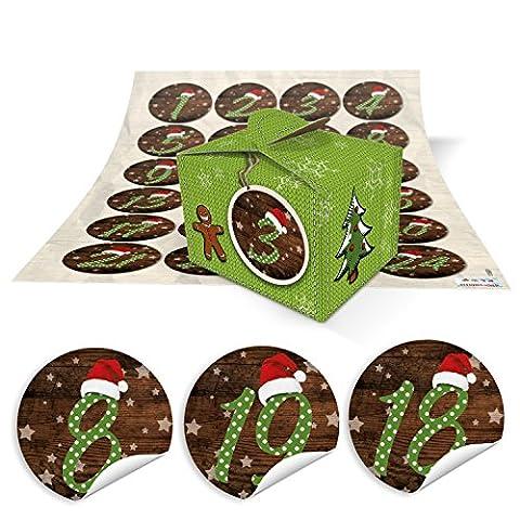 DIY Adventskalender Weihnachten Bastel-Set: 24 kleine hell-grüne Mini-Schachteln Boxen (8 x 6,5 x 5,5) + rot-grün-gepunktete MÜTZE Zahlen-Aufkleber 1 bis 24 selber-machen-befüllen Kinder