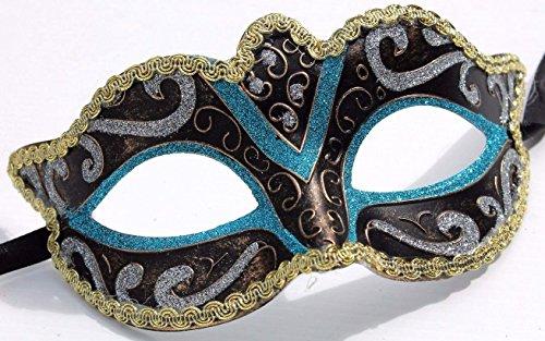 Türkis Blau Schwarz Bronze und Gold venezianische Maskerade Partei Karneval Maske (Maskerade Masken Blau)