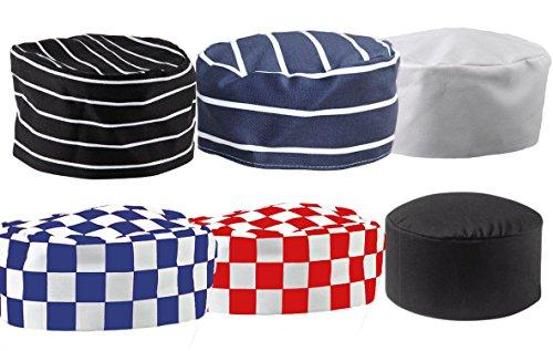 Mcintyre Poly/Cotton Skull Chefs Cap, Black/White Stripe