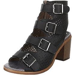 Damen Schuhe, BJ15138, PUMPS, PEEP TOE SANDALETTEN, Synthetik in hochwertiger Lederoptik , Schwarz, Gr 35