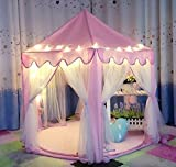 Castello della principessa Play Tent con il LED - 135 cm(Diametro) x 140 cm (Altezza),UniqueVC principessa Tenda,Castello di gioco per il regalo di Childs Toddlers,Palline e coperte non incluso by UniqueVC