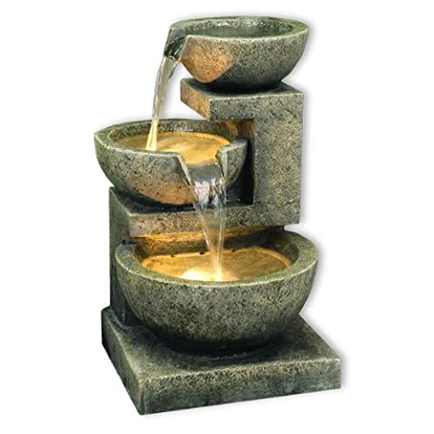 Kyoto Three Bowl Cascade Garden Water Feature with White LED