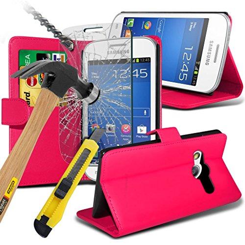 Samsung Galaxy S5 Neo hülle Tasche (Grün + Kopfhörer) Slim-Fit-Abdeckung für Samsung-Galaxie-S5 Neo-hülle Tasche Haltbarer S Linie Wellen-Gel-Kasten-Haut-Abdeckung + mit Aluminium Earbud Kopfhörer, Po Wallet + glass ( Hot Pink )