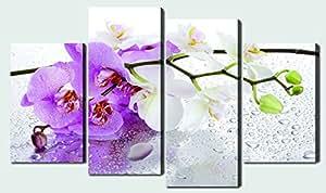 4 grandes fleurs Multi-Panneau Tableau Toile tendue sur châssis en bois, décor imprimé contemporain